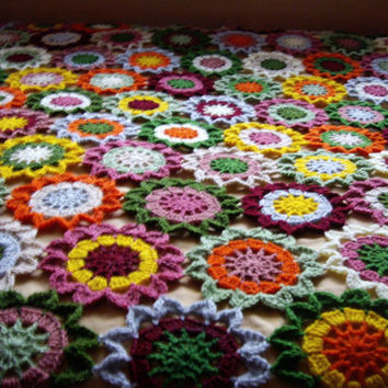 ON SALE - 10% OFF Granny Square Crochet Blanket...Colorful Knitting ...