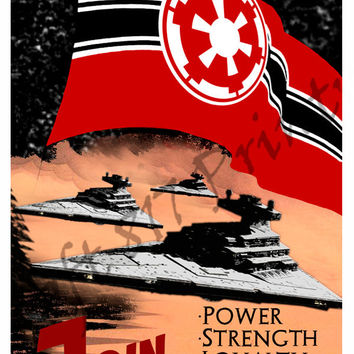 Star Wars inspired Propaganda art, Join the imperial Navy, star wars art poster