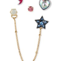 Betsey Johnson Earring Set, Antique Gold-Tone Star and Moon Stud Earrings - All Fashion Jewelry - Jewelry & Watches - Macy's