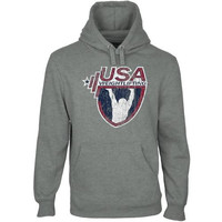 USA Weightlifting Distressed Crest Pullover Hoodie - Gunmetal