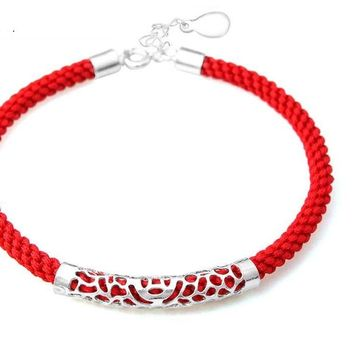 Red Rope Chain 100% Real 925 Sterling Silver  Bracelet High Quality S925 Solid Silver Bracelets