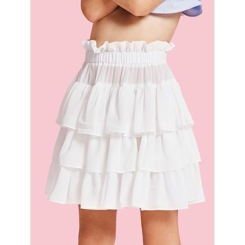 Tiered Ruffle Hem Flare Skirt