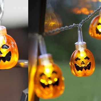 1.2M 10LED PS / PVC Pumpkin Shape String Lights For Halloween Party Decor Halloween String Light halloween decoration horror@GH