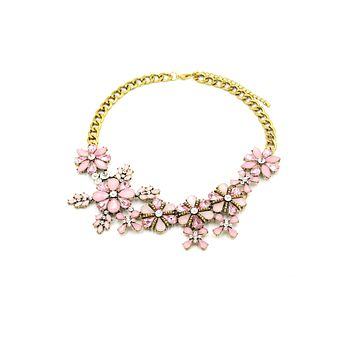 elegant pink flowers golden necklace