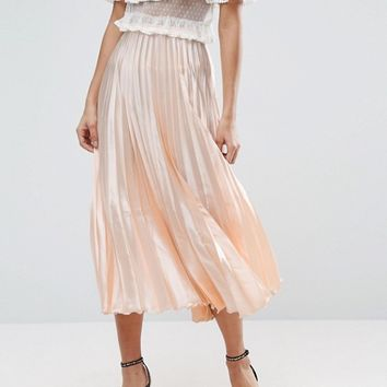 ASOS Midi Skirt in Pleated Satin at asos.com