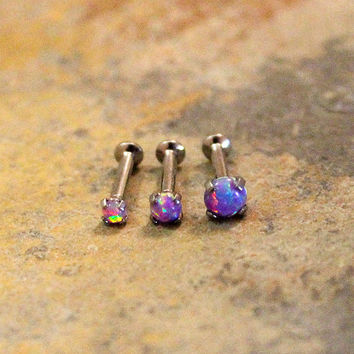 Purple Opal Helix Cartilage Tragus Lip Earrings,Internal Thread Prong Basket Setting, Flat Back Surgical Steel Barbell Body Piercing 16G 18G