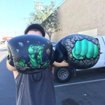 Hulk Smash! Custom Painted Boxing Gloves - The Incredible Hulk Theme