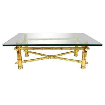 Pre-owned Gold Gilt Faux Bamboo Cocktail Table