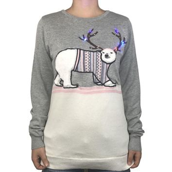Funny Polar Bear Light Up Ugly Christmas Sweater for Women