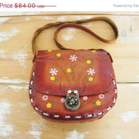 SALE Vintage 60s Brown Leather Tooled Purse Bag Flower Boho Hippie