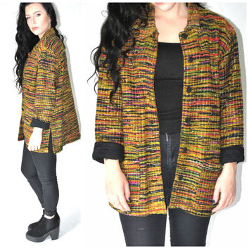 woven SILK blazer vintage 80s 1980s MULTICOLORED side slit long JACKET os