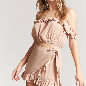 Ruffled Self-Tie Skort