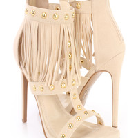 Camel Fringed Strappy Single Sole Heels Faux Suede