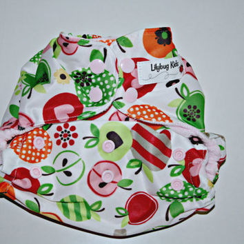 Sale: Cloth pocket diaper in Apple Blossom one size, waterproof, reusable, pink cotton velour lining