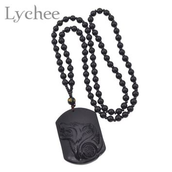 Lychee Vintage Black Artificial Crystal Wolf Head Pendant Beads Necklace Blessing Lucky Amulet Necklace Jewelry for Men Women