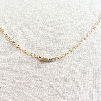 Raw Diamond April Birthstone Bead Gold Filled Chain Necklace