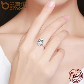 Hot Sale 100% 925 Sterling Silver Lovely Cute Owl Women Finger Ring ,Clear CZ Fashion Sterling Jewelry Gift S925 SCR077