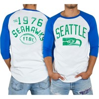 Seattle Seahawks Junk Food Red Zone Raglan Long Sleeve T-Shirt – White