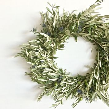 Blue Thistle and Olive Wreath