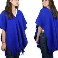 Vintage Mexican serape -  Lila Bath Mexican poncho - 1960s Mexican cape -  cobalt blue - ethnic - woven wool shawl