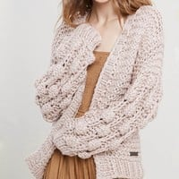 Pop Pop! Popcorn Sleeve Knit Cardigan in Twig
