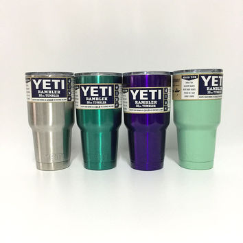 30oz Yeti Cup Large Stainless Steel Water Tumbler Colored Handle Rambler Mugs Colster Travel Insulated Beer Bottle Coffee Mug