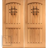 Rustic Front Double Door, V-grooved Arch Panel, Speakeasy, Solid Wood