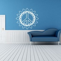 Flowered Peace Sign Hippie Flower Child Bohemian Beatnik Free Spirit Dropout Woodstock Joy Wall Art Sticker Decal Tr085