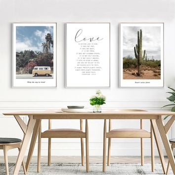 SURE LIFE Travel Life Posters Bus Prints Cactus Love Quotes Canvas Paintings Wall Art Pictures for Living Room Home Decoration