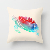 Watercolor Turtle Throw Pillow by Jacqueline Maldonado | Society6