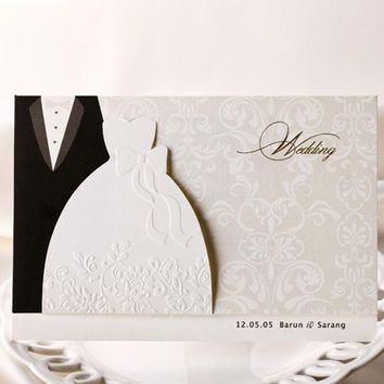 Wishmade 12pcs/lot Engagement Laser Cut Groom & Bride Dresses Wedding Invitations Weeding invitation Cards Decorations BH2046