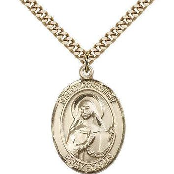"Saint Dorothy Medal For Men - Gold Filled Necklace On 24"" Chain - 30 Day Mone... 617759387179"