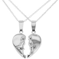 Rhodium Plated Heart Lovers Kissing His and Hers Pendant Necklaces 19""