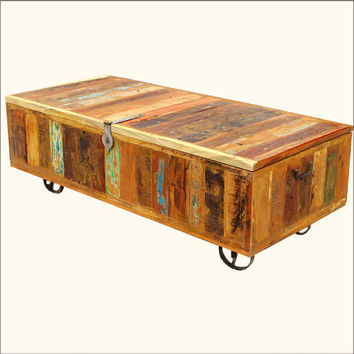 Wood Wrought Iron Storage Box Coffee Table Rustic Reclaimed Chest Trunk on Wheels Furniture