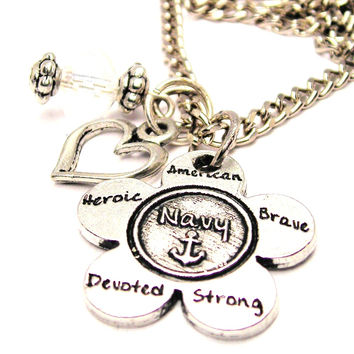 The Navy Flower Small Necklace with Small Heart