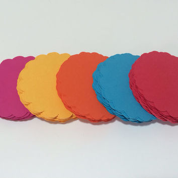 Scalloped Circles - You Choose Your Colors - Scrapbooking Craft Supply Die Cuts - Set of 50 2.5 Inch