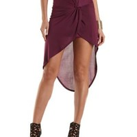 Knotted High-Low Tulip Skirt by Charlotte Russe - Deep Purple