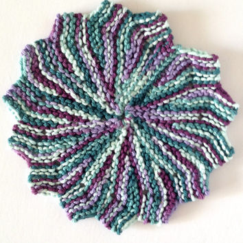 Hand knit dishcloths, cotton dishcloths, trivet hot plate, kitchen hot pads, teal kitchen decor, purple kitchen decor, knit washcloth
