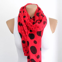 Polka Dot Red Scarf ,Cotton Scarf, Summer Scarf in Red Black, Dotted Scarf