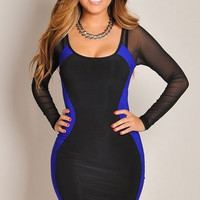 Black and Blue Mesh Long Sleeve Bodycon Dress