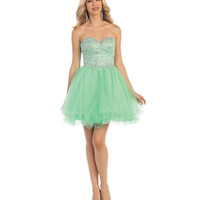 Mint Short Strapless Beaded Sweetheart Dress 2015 Homecoming Dresses