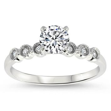 Dainty Moissanite Diamond Engagement Ring - Cara