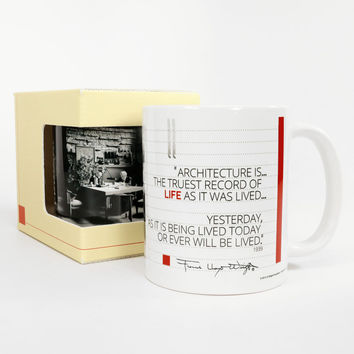 "Frank Lloyd Wright ""Architecture Is"" Quotation Coffee Mug"