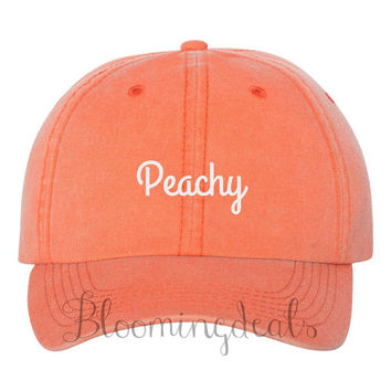 Peachy Baseball Cap Neon Coral Hat Embroidered Ball Caps Christmas Gift Under 20 Dollars