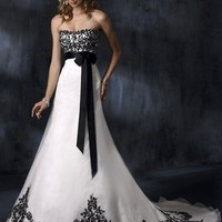 Empire Strapless Court Trains Sleeveless Satin and Chiffon Wedding Dresses YSP0074 | $143.26 | Maryswill.com.