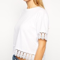 ASOS Cropped Boyfriend T-Shirt with Crochet Trim