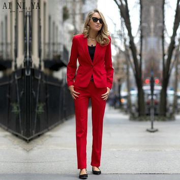 CUSTOM rose red women business suits formal office suits work female trouser suits one button slim fit 2 piece blazer set