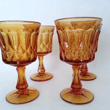 Vintage Wine Glasses Amber - Water Goblets - Vintage Ice tea Goblets - Noritake Perspective-Amber  Set of 4