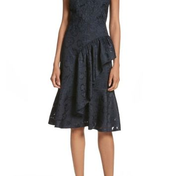 Rebecca Taylor Aly Floral Lace & Jacquard Dress | Nordstrom