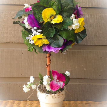 Handmade Artificial Floral Arrangement: Colorful Pansies Topiary in a Painted Ceramic Pot